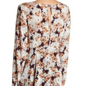 Anama Ruffled Flower Button Back Tunic Blouse L